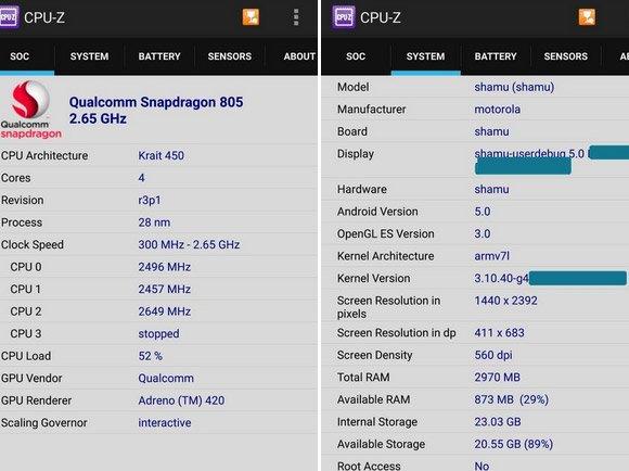 Confirmadas las especificaciones del Motorola Nexus 6 (Shamu)