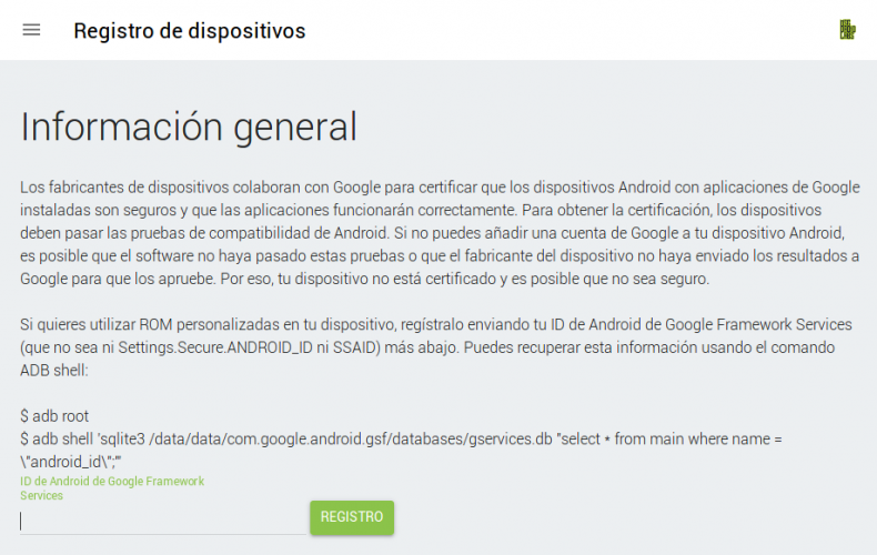 Error: 'Este dispositivo no está certificado por Google'