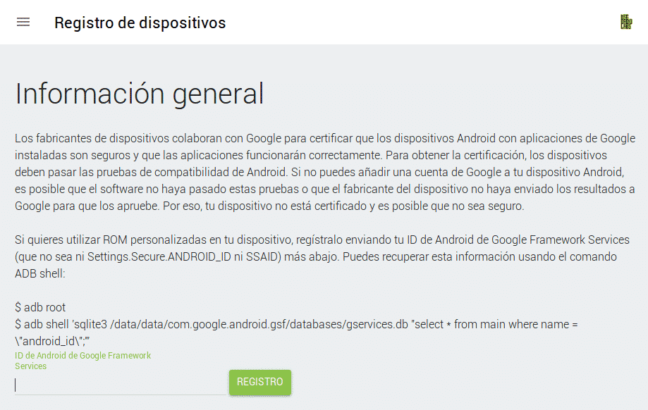 Este dispositivo no está certificado por Google